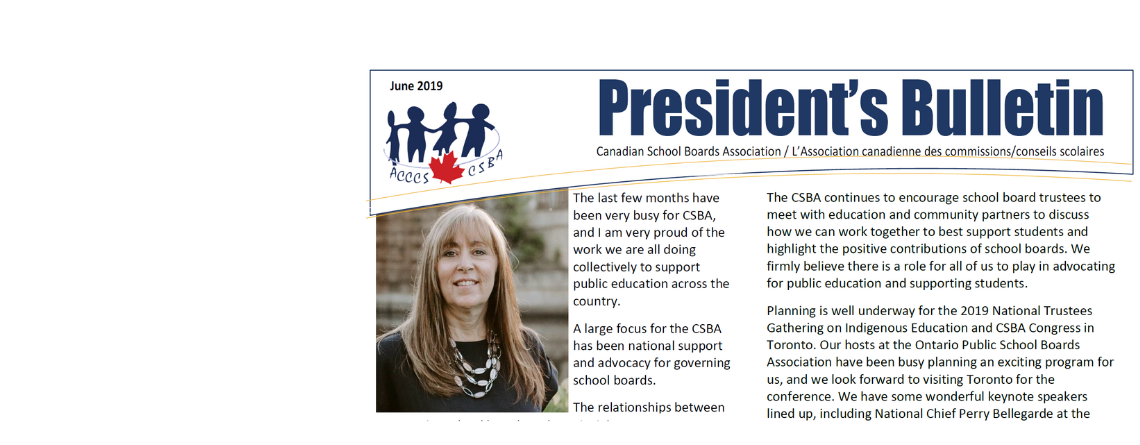 June 2019 CSBA President's Bulletin / Bulletin du Président